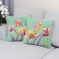 Batik cotton cushion covers, 'Harmonious Garden' (pair) - Floral Batik Cotton Cushion Covers from Thailand (Pair)