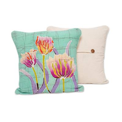 Cotton batik cushion covers, 'Harmonious Garden' (pair) - Floral Cotton Batik Cushion Covers from Thailand (Pair)