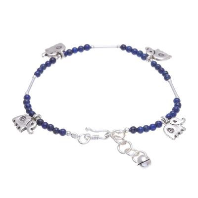 Elephant-Themed Lapis Lazuli Beaded Charm Bracelet