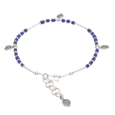 Spiral Motif Lapis Lazuli Beaded Charm Bracelet