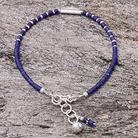 Lapis lazuli beaded bracelet, 'Midnight Half Moon' - Lapis Lazuli Beaded Bracelet Crafted in Thailand