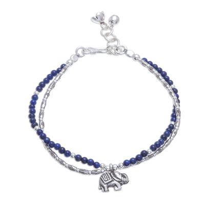 Lapis lazuli beaded bracelet, 'Deep Blue Elephant' - Elephant and Floral Lapis Lazuli Beaded Bracelet