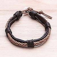 Leather wristband bracelet, 'Perfect Style in Light Brown' - Leather Wristband Bracelet with Braided Accent in Dark Brown