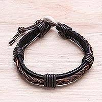 Leather wristband bracelet, 'Perfect Style in Dark Brown' - Leather Wristband Bracelet with Braided Accent in Brown