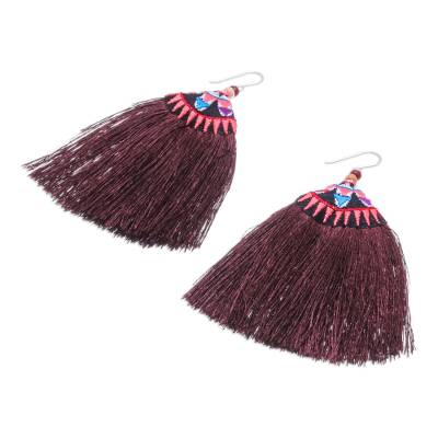 Cotton Blend Fringed Dangle Earrings from Thailand