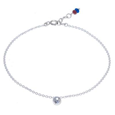 Ringing Bell Sterling Silver and Quartz Anklet from Thailand