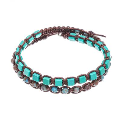 Agate Beaded Macrame Wrap Bracelet from Thailand