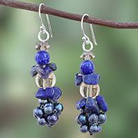 Lapis lazuli and cultured pearl cluster earrings,