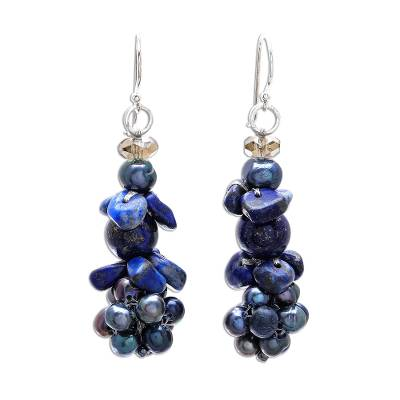 Lapis Lazuli and Cultured Pearl Cluster Earrings