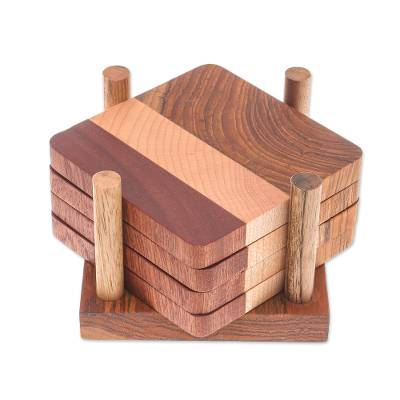 Handmade Wood Coasters and Holder from Thailand (Set of 4)