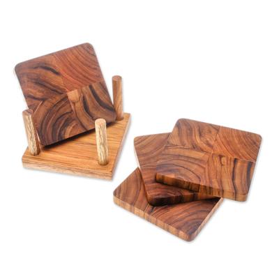 Handmade Teak Wood Coasters from Thailand (Set of 4)