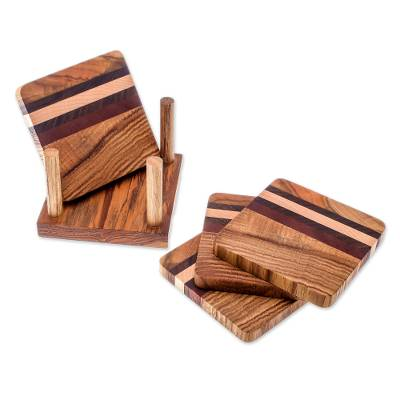 Striped Wood Coasters from Thailand (Set of 4)