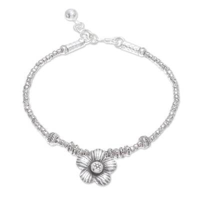 Handcrafted Karen Hill Tribe Silver Flower Charm Bracelet
