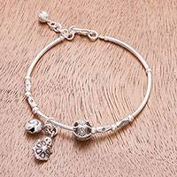 Silver charm bracelet, 'Turtle and Snail' - Turtle and Snail Karen Silver Charm Bracelet from Thailand