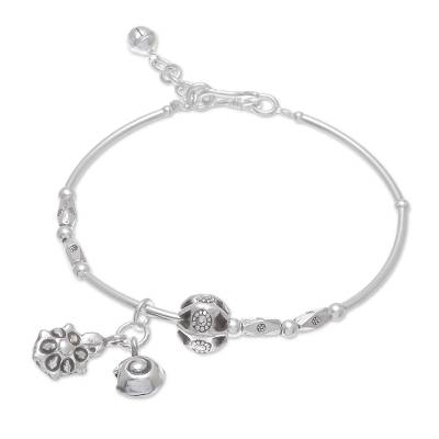 Turtle and Snail Karen Silver Charm Bracelet from Thailand