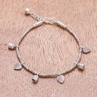 Silver beaded charm bracelet, 'Karen Rose Garden' - Karen Silver Leaf and Rose Charm Bracelet from Thailand