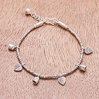 Silver beaded charm bracelet, 'Karen Rose Garden' - Karen Silver Leaf and Rose Charm Bracelet from Thailand
