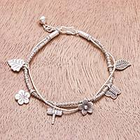 Silver beaded charm bracelet, 'Karen Fields' - Karen Silver Nature Themed Charm Bracelet from Thailand