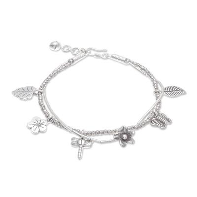 Silver beaded charm bracelet, 'Karen Fields' - Karen Silver Nature Themed Charm Bracelet from Thailand