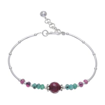 Karen Hill Tribe Silver and Dyed Quartz Beaded Bracelet