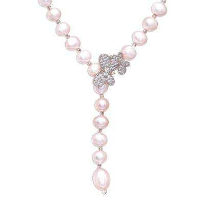 Rose gold accented cultured pearl Y-necklace, 'Beautiful Butterfly in Pink' - Cultured Pearl Y-Necklace in Pink from Thailand