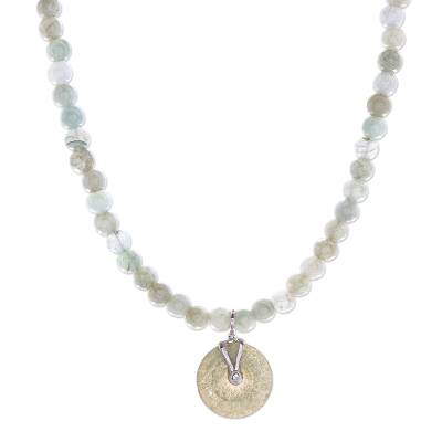 Jade beaded pendant necklace, 'Jade Charm' - Natural Jade Beaded Pendant Necklace from Thailand