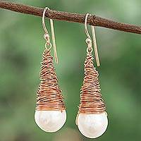 Cultured pearl dangle earrings, 'Cute Cones' - Conical Cultured Pearl Dangle Earrings from Thailand