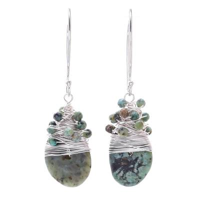 Silver Accented Recon. Turquoise Dangle Earrings
