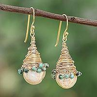 Cultured pearl and reconstituted turquoise dangle earrings, 'Golden Season' - Cultured Pearl and Recon. Turquoise Dangle Earrings