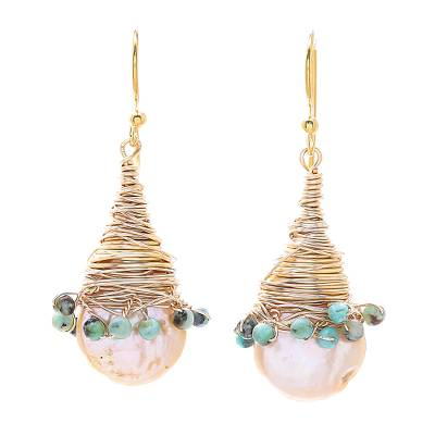 Cultured Pearl and Recon. Turquoise Dangle Earrings
