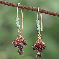 Multi-gemstone dangle earrings, 'Burgundy Cluster' - Multi-Gemstone Dangle Earrings from Thailand