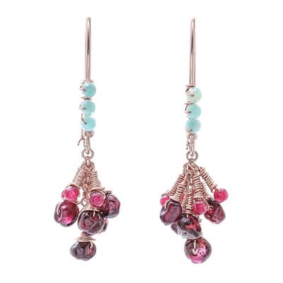 Multi-gemstone dangle earrings, 'Burgundy Cluster' - Multi-Gemstone Dangle Earrings from Thailand