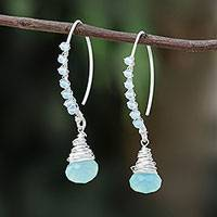 Glass beaded sterling silver dangle earrings, 'Blue Meadow'