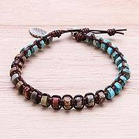 Jasper and reconstituted turquoise beaded macrame bracelet, 'Lovely Earth'