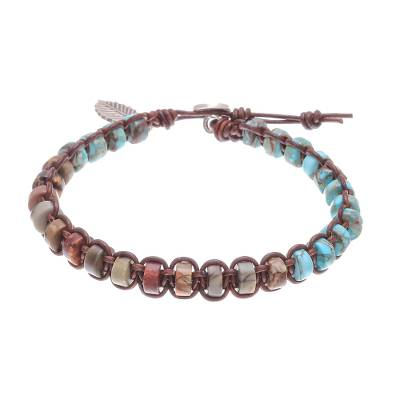 Jasper and reconstituted turquoise beaded macrame bracelet, 'Lovely Earth' - Jasper and Recon. Turquoise Macrame Bracelet