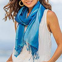Cotton scarves, 'Delightful Breeze in Blue' (pair)