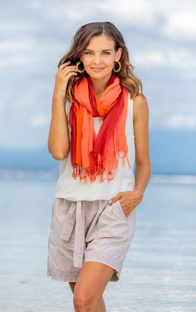 Cotton scarves, Delightful Breeze in Red (pair)