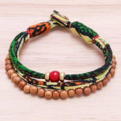 Wood and cotton beaded strand bracelet, 'Verdant Appeal' - Wood and Cotton Beaded Strand Bracelet in Green