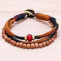 Wood and cotton beaded strand bracelet, 'Bold Appeal' - Wood and Cotton Beaded Strand Bracelet in Brown
