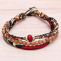 Wood and cotton beaded strand bracelet, 'Chic Appeal' - Wood and Cotton Beaded Strand Bracelet Crafted in Thailand