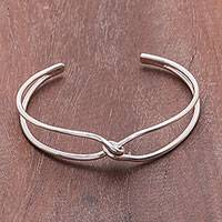 Sterling silver cuff bracelet, 'Fascinating Twist' - Twisted Sterling Silver Cuff Bracelet from Thailand