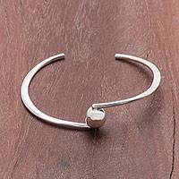 Sterling silver cuff bracelet, 'Wonderful Ball' - Modern Sterling Silver Pendant Cuff Bracelet from Thailand