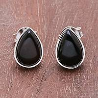 Onyx stud earrings, 'Droplet Gleam in Black' - Drop-Shaped Black Onyx Stud Earrings from Thailand