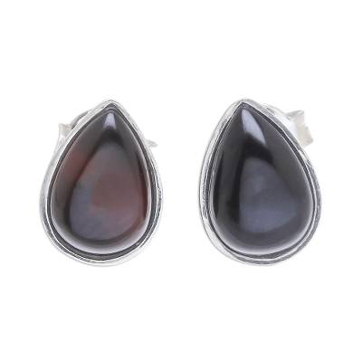 Drop-Shaped Black Onyx Stud Earrings from Thailand