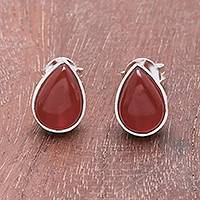 Carnelian stud earrings, 'Droplet Gleam' - Drop-Shaped Carnelian Stud Earrings from Thailand