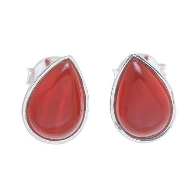 Carnelian stud earrings, 'Droplet Gleam' - Drop-Shaped Carnelian Stud Earrings from Thailand