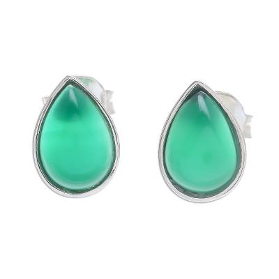 Drop-Shaped Green Onyx Stud Earrings from Thailand