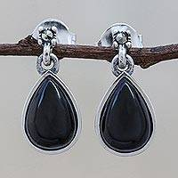 Onyx dangle earrings, 'Droplet Gleam in Black' - Drop-Shaped Black Onyx Dangle Earrings from Thailand