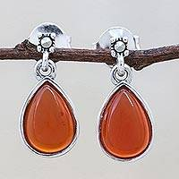 Carnelian dangle earrings, 'Droplet Gleam' - Drop-Shaped Carnelian Dangle Earrings from Thailand