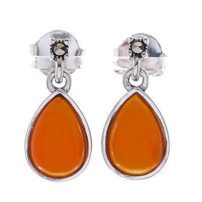 Carnelian dangle earrings, 'Droplet Gleam' - Drop-Shaped Carnelian Dangle Earrings from Thailand